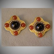 """Philippe Ferrandis"" Gold-Tone & Colored Cabochon Clip Earrings"