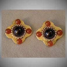 """Philippe Ferrandis"" Gold-Tone & Colored Cabochon Clip Earrings"