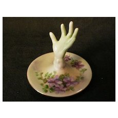 """Hand-Painted China """"Hand-Shape"""" Ring Tree w/Violet Flowers Decor"""