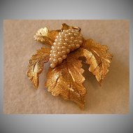 Hobe Gold-Tone & Faux Seed Pearls Grape & Leaf Design Brooch
