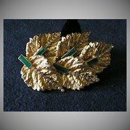 Hobe Gold-Tone & Rhinestone Leaf Design Brooch/Pendant