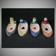 Set of 4 Individual Ashtrays w/Playing Card Suites and Figural Clowns