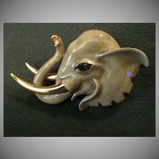 Coro Vendome Gold-Tone & Enamel Figural Elephant Brooch