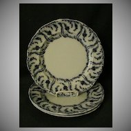 "Set of 3 - Adderley's Ltd. Blue Transfer Dinner Plates in ""Constance' Pattern"