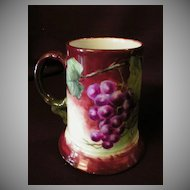 J Pouyat Hand-Painted Porcelain Stein w/Grape Design