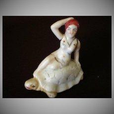 "Vintage 1920's ""Bathing Beauty Riding a Turtle"" Figurine"
