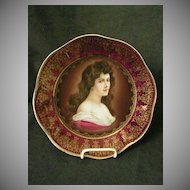 Royal Vienna Style Transfer & H.P. Cabinet Plate w/Image of Amorosa