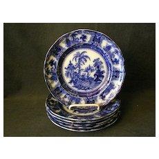 """Set of 6 - W. Adams Co. Flow Blue """"Kyber"""" Pattern Luncheon Plates"""