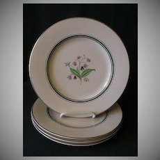 "Set of 4 - Syracuse China ""Coralbel"" Pattern Dinner Plates"