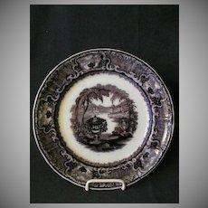 "Podmore, Walker & Co. Mulberry Black Transfer ""Washington Vase"" Plate"