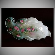 """Wheelock """"Prussia"""" Leaf-Shape Celery/Relish Tray w/Embossed & Floral Decoration"""