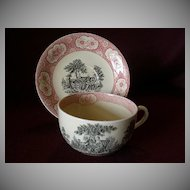 "William Adams & Sons ""Rose Terrace"" Transfer Pattern Mush/Large Cup & Saucer"