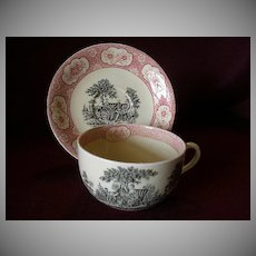 """William Adams & Sons """"Rose Terrace"""" Transfer Pattern Mush/Large Cup & Saucer"""