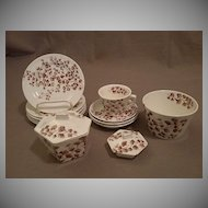 "Ridgways Brown Transferware ""Maiden Hair Fern"" Children's Dishes - Circa 1880"
