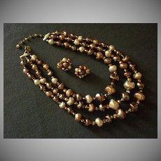 Coro Vendome Faux Baroque Pearl & Aspirin Rhinestone Necklace & Earring Demi-Parure