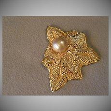 """Philippe Ferrandis"" Gold-Tone & Faux Baroque Pearl Brooch in Leaf Design"