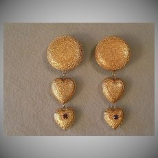 """Dominique Aurientis"" Embossed Gold-Tone & Rhinestone Clip Earrings"