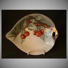 Weimer Porcelain H.P. & Signed Nappie Dish w/Cherry Fruit Decoration