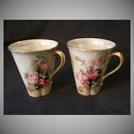 Pair of Hand Painted Haviland Demi-Tasse or Hot Chocolate Cups