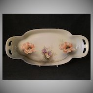 R.S.Germany (Green Mark) Celery or Bread Tray w/Orange Poppy & Other Floral Decoration