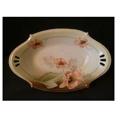 R.S. Tillowitz Silesia (Blue Mark) Oval Bowl w/Orange Poppy Decorations