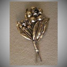 """Hobe Sterling Silver """"Bouquet Of Flowers"""" Brooch"""