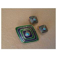 Florenza Enameled, Faux Turquoise & Gold-Tone Brooch & Clip Earrings Demi Parure