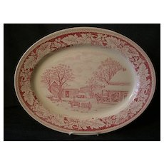 """Homer Laughlin """"Americana Series - Home To Thanksgiving"""" Oval Platter"""