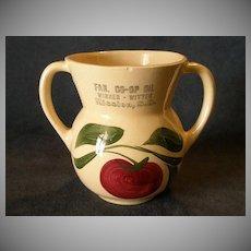 "Watt Pottery ""#89 Apple-3 Leaf"" Open Sugar Bowl w/ Mission S.D. Advertising"