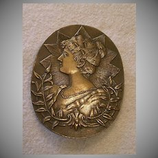 """Josephine Bonaparte"" Relief Profile Image in Early Cast Bronze Belt Buckle"