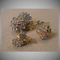 Coro Vendome Gold-Tone & Rhinestone Floral Designed Brooch & Earrings
