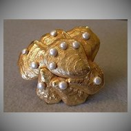 """Dominique Aurientis"" Sculptured Clam Shells w/Faux Pearls Brooch"