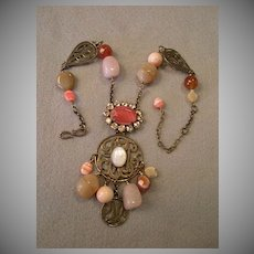"""Philippe Ferrandis"" Bronze-Tone Metal, Rhinestones, Beads, & Polished Stones Necklace"