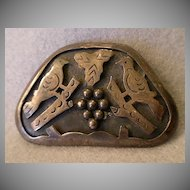 "Mexican Sterling Figural ""Birds & Grapes"" Brooch/Pendant - Signed ""JS"""