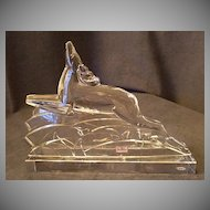 "Baccarat Crystal ""Leaping Reindeer"" Art Deco Sculpture"