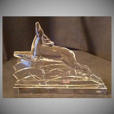 "Baccarat Crystal ""Leaping Reindeer"" Art Deco Sculpture"