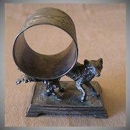 Victorian Silver Plated Figural Napkin Ring w/Fox & Shrubbery