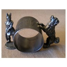 Victorian Silver Plated Figural Napkin Ring w/Viking Warrior & Karelain Dog - Red Tag Sale Item
