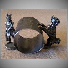 Victorian Silver Plated Figural Napkin Ring w/Viking Warrior & Karelain Dog
