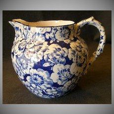 """Buffalo Pottery """"Geranium"""" Pattern Jug/Pitcher in Cobalt Blue"""