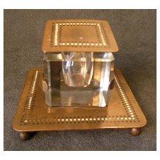 Bradley & Hubbard Art Deco Brass & Enameled Desk Inkwell