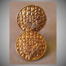 """Dominique Aurientis"" Embossed Gold-Tone Clip Earrings"