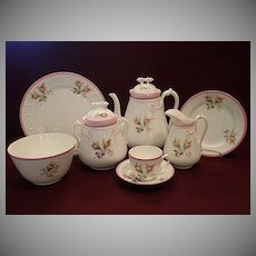 "1880's Unmarked Porcelain ""Moss Rose"" 24-Piece Luncheon/Dessert Set"