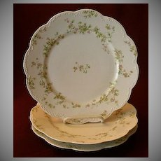 "Set of 3 Haviland & Co. Limoges ""Green & Pink Floral"" Dinner Plates - Schleiger #74A"