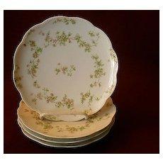 """Set of 4 Haviland & Co. Limoges """"Green & Pink Floral"""" Coup Salad Plates - Schleiger #74A"""
