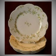 "Set of 4 Haviland & Co. Limoges ""Green & Pink Floral"" Luncheon Plates - Schleiger #74A"