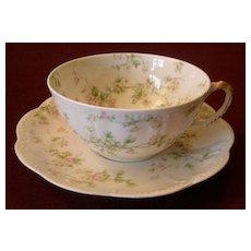 "Set of 5 Haviland & Co. Limoges ""Green & Pink Floral"" Smaller Size Cups & Saucers - Schleiger #74A"