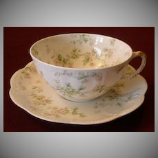 "Set of 5 Haviland & Co. Limoges ""Green & Pink Floral"" Smaller Size Cups & Saucers - Schleiger #74A"