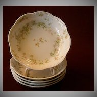 "Set of 5 Haviland & Co.Limoges ""Green & Pink Floral"" Sauce Dishes -  Schleiger #74A"