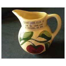 """Watt Pottery """"#62 Apple - 3 Leaf"""" Pattern Pitcher w/Long Lake & Wetokka S.D. Advertising"""